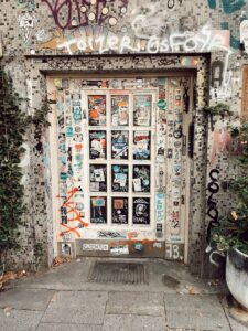 A sticker-covered door in Schanze
